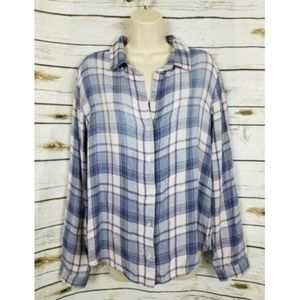 Cloth & Stone Flannel Plaid Top Large Button